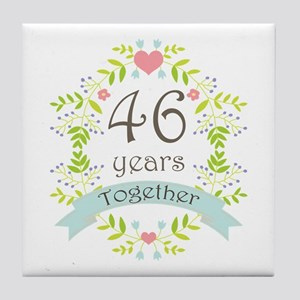 46th Anniversary flowers and hearts Tile Coaster