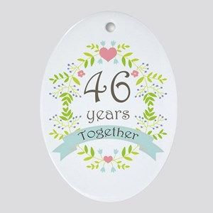 46th Anniversary flowers and heart Ornament (Oval)