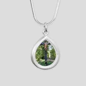Crucifix Silver Teardrop Necklace