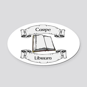 Seize The Book Oval Car Magnet