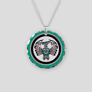 Haida Thunderbird green button Necklace