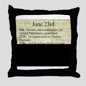 June 23rd Throw Pillow