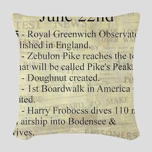 June 22nd Woven Throw Pillow