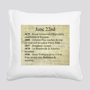 June 22nd Square Canvas Pillow