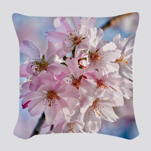 Japanese Cherry Blossoms Woven Throw Pillow