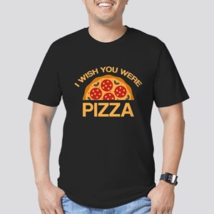 I Wish You Were Pizza Men's Fitted T-Shirt (dark)