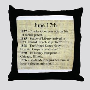 June 17th Throw Pillow