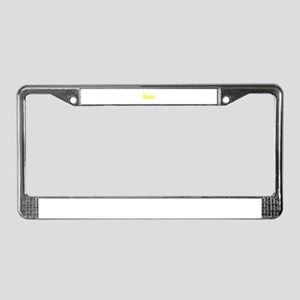 Blues word yellow music design License Plate Frame
