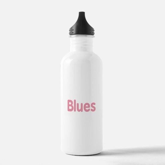 Blues word pink music design Water Bottle