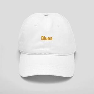 Blues word orange music design Baseball Cap