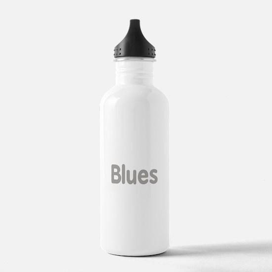 Blues word grey music design Water Bottle