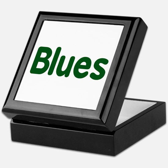 Blues word green music design Keepsake Box