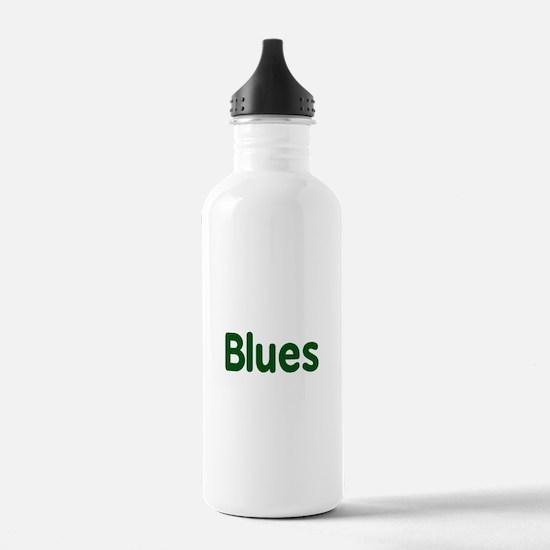 Blues word green music design Water Bottle