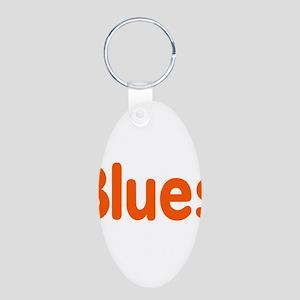 Blues word orange music design Keychains