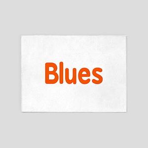 Blues word orange music design 5'x7'Area Rug