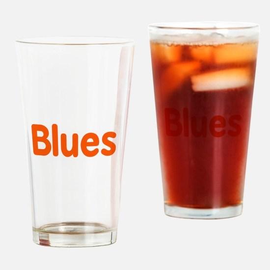 Blues word orange music design Drinking Glass