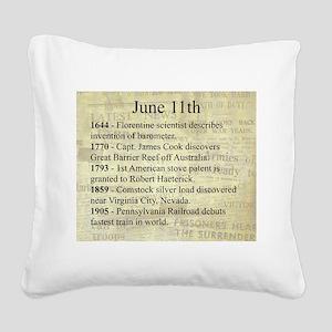 June 11th Square Canvas Pillow