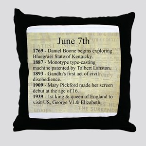 June 7th Throw Pillow