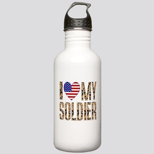 I Love My Soldier Water Bottle