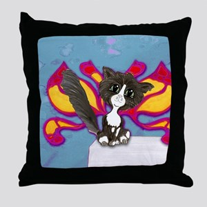Tuxedo Cat Fairy Throw Pillow
