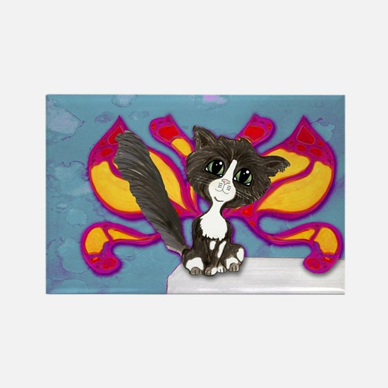 Tuxedo Cat Fairy Rectangle Magnet