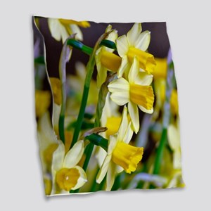 Yellow Daffodils Burlap Throw Pillow