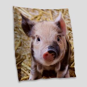 sweet little piglet 2 Burlap Throw Pillow