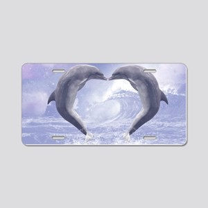 Dolphins Kisses Aluminum License Plate