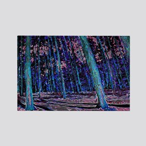 Magic forest purple blue Rectangle Magnet