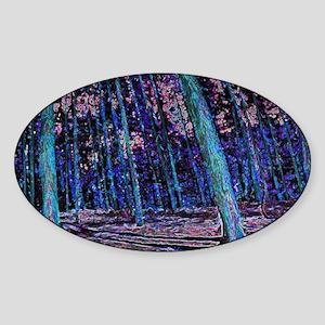 Magic forest purple blue Sticker (Oval)