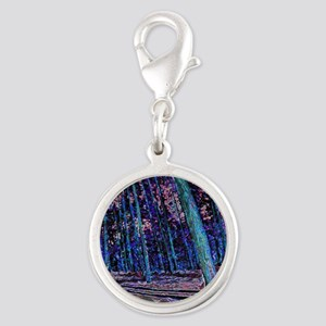 Magic forest purple blue Silver Round Charm