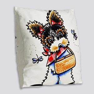 Biewer Yorkie Picnic Burlap Throw Pillow