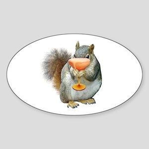 Squirrel Drink Sticker (Oval)