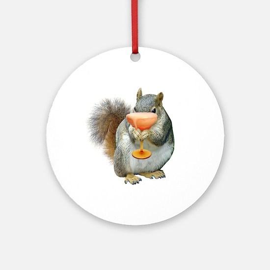 Squirrel Drink Ornament (Round)