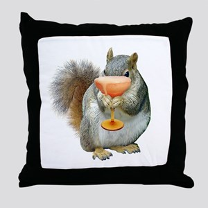Squirrel Drink Throw Pillow