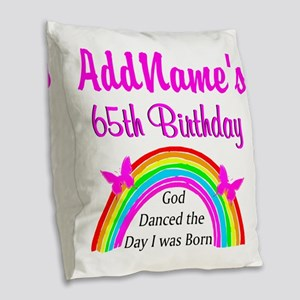 LOVING GOD 65TH Burlap Throw Pillow