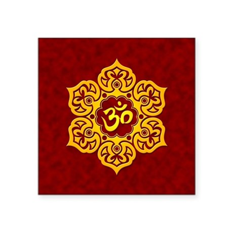 Golden Red Lotus Flower Yoga Om Sticker by jeffbartels