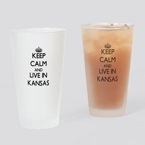 Keep Calm and Live In Kansas Drinking Glass