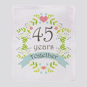 45th Anniversary flowers and hearts Throw Blanket