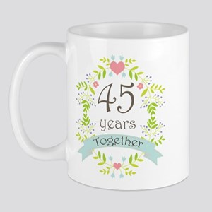 45th Anniversary flowers and hearts Mug