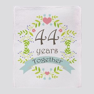 44th Anniversary flowers and hearts Throw Blanket