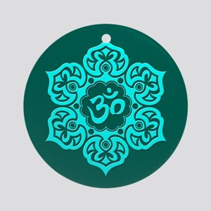 Teal Blue Lotus Flower Yoga Om Ornament (Round)