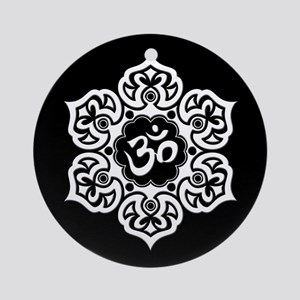 White and Black Lotus Flower Yoga Om Ornament (Rou
