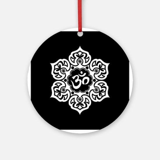 White and Black Lotus Flower Yoga Om Ornament (Rou