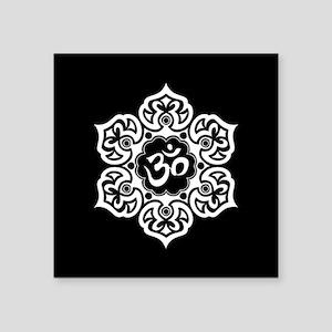 White and Black Lotus Flower Yoga Om Sticker