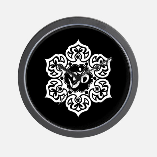 White and Black Lotus Flower Yoga Om Wall Clock