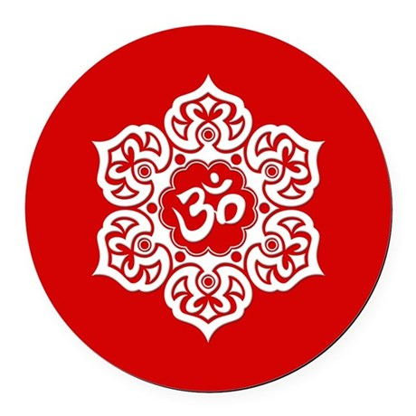 White and Red Lotus Flower Yoga Om Round Car Magne