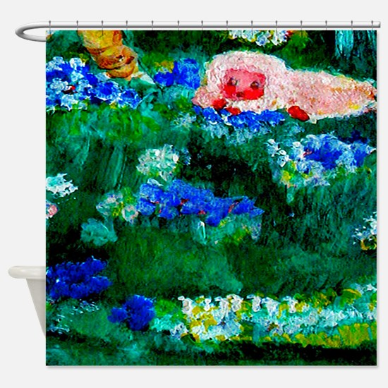 Little Lamb Sleeping In The Flowers Shower Curtain