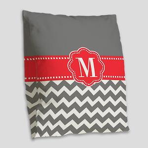 Gray Coral Monogram Burlap Throw Pillow