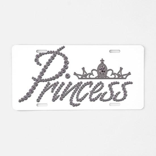 Diamond Princess and Tiara Aluminum License Plate